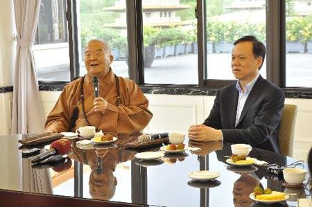 贵州省长陈敏尔一行到佛馆参访 与星云大师会面
