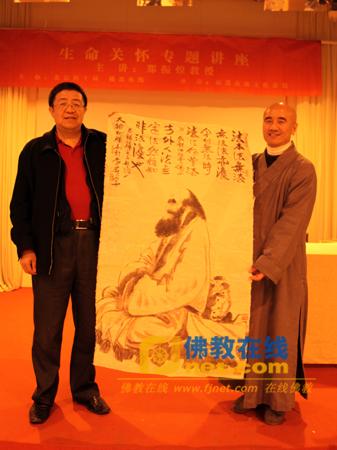 辽宁圣泉寺昌觉法师代表李燕教授赠送佛教在线禅画